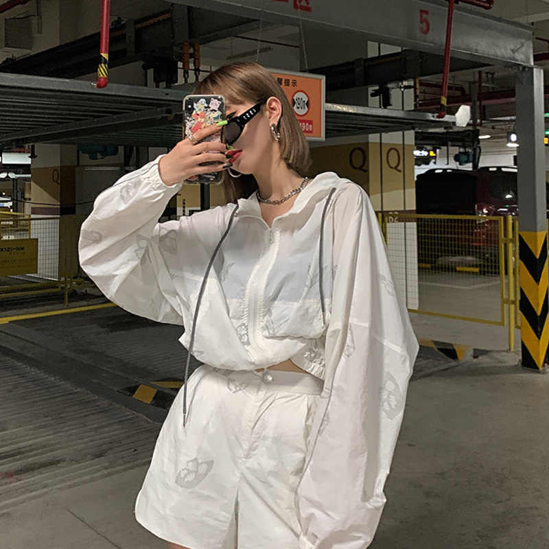 Ez14 Zonnebrandcrème Jas Vrouwen 2020 Zomer Nieuwe Vlinder Reflecterende Koreaanse Losse Ademend Zonnebrandcrème Pak Ins