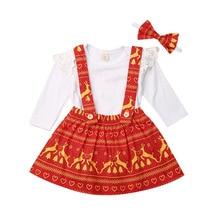 0-18M Christmas Baby Girl Clothes Set Infant Newborn Baby Girl Ruffles Long Sleeve Romper+Bib Skirt Red Outfit Xmas Costumes стоимость