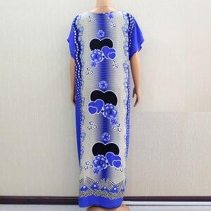 Image 2 - Африканское Дашики Dashikiage 2019, Анкара, в форме сердца, с цветочной аппликацией, синее 100% хлопковое женское платье