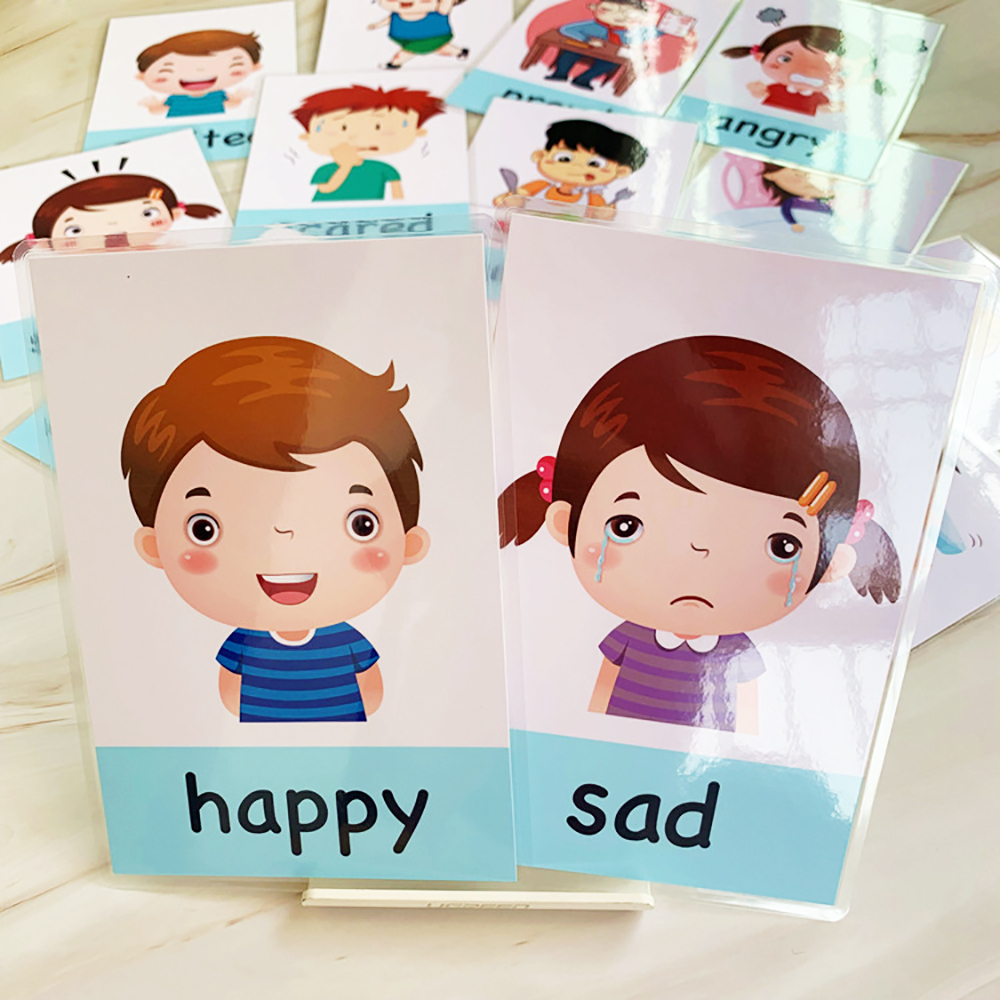 Montessori Baby Emotion Learning Card Cartoon English Emotion Flash Cards for Child Funny Memory Exercise Game
