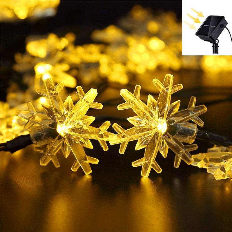 20/30/40/50/60LED Waterproof Christmas Garland Snow Flakes Solar String Fairy Lights Outdoor For Party Home Tree Wedding Garden