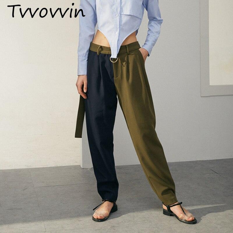 Tvvovwin 2019New Весна Лето Высокая талия соединены хит цвет зеленый короткие личности свободные длинные брюки женские брюки Мода C771