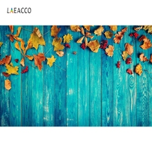 Laeacco Blue Wooden Board Yellow Leaves Autumn Baby Photography Backgrounds Customized Photographic Backdrops For Photo Studio