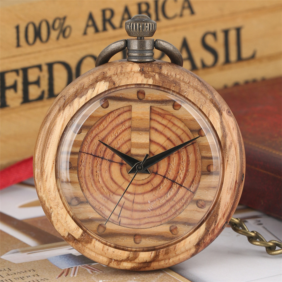 Creative Wooden Watch Quartz Pocket Watch Bronze Hanging Pendant Chain New Arrival Wood Pocket Clock Gifts For Men Women