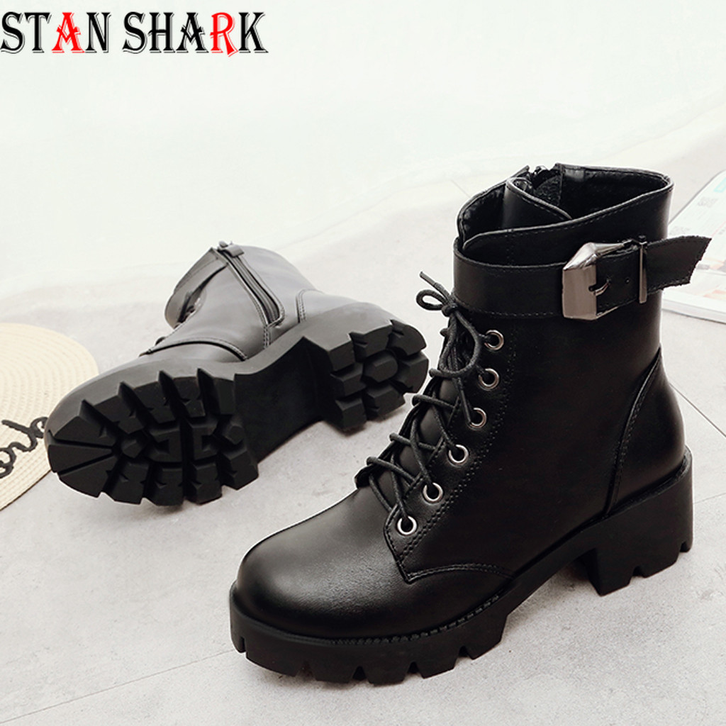 New Women's Leather Martins Boots Woman shoes Winter Warm Lace-up Ankle Boots For Woman High Quality Waterproof Platform Boots image