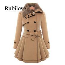 Rubilove Fashion Womens Slim Trench Coats Lady Fur Collar Peacoat Winter Woolen Coat Jackets Outwear Double Breasted Elegant Coa