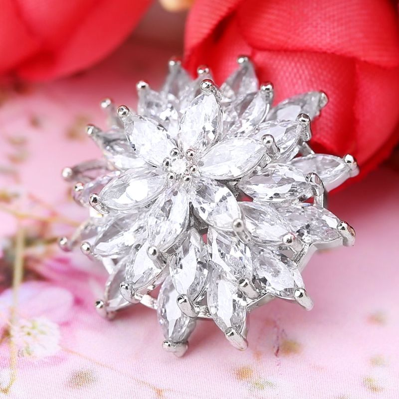 1Pc 1Pc 24mm Glitter Zircon 3 Layer Flower Shape Decorative Buttons With Metal Loop Shank Hole Sewing Clip Buckle DIY Crafts