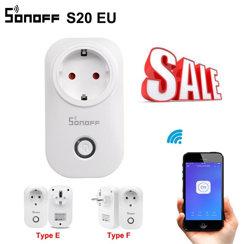 Hot Koop Sonoff S20 Eu Wifi Smart Socket Schakelaar Eu E/F Plug App/Vocie Afstandsbediening stopcontact Timing Werkt Met Alexa 1