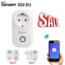 SONOFF Toma de corriente inteligente, accesorio S20 con wifi, enchufe E/F de la UE, control remoto mediante aplicación/voz, funciona con Alexa