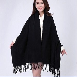 Image 2 - White 4Ply 100% Wool Solid Color Womens Autumn Winter New Fashion Thick Tassel Shawl Scarf Wrap Warm 19 Colors 200*70cm 011502