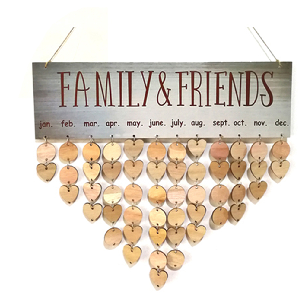 Family Decoration Party Decor Wooden Plaque Sign Home Wall Hanging DIY Planner Dates Birthday Calendar Gift Anniversary