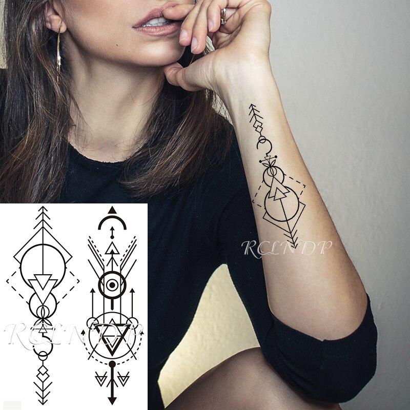 Waterproof Temporary Tattoo Sticker Arrow Triangle Totem Geometric Symbol Fake Tatto Flash Tatoo Arm Body Art for Men Women