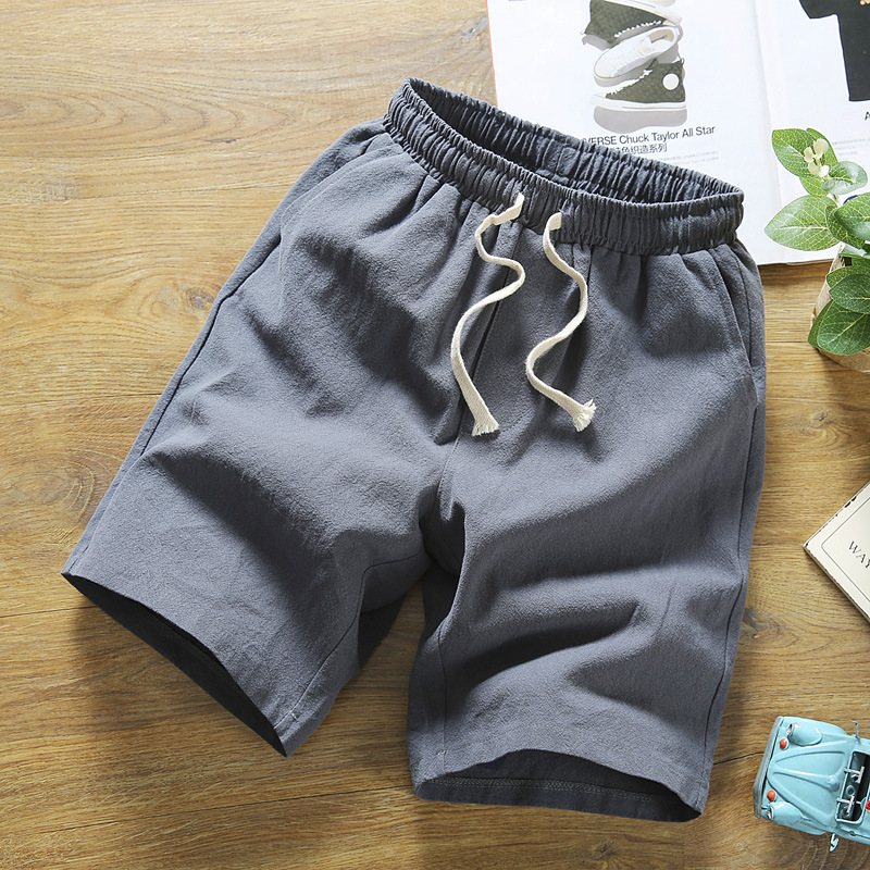 Japanese-style Summer New Style Drawstring Shorts Men's Cotton Linen Loose-Fit Breathable Straight-Cut Youth Beach 5 Pants