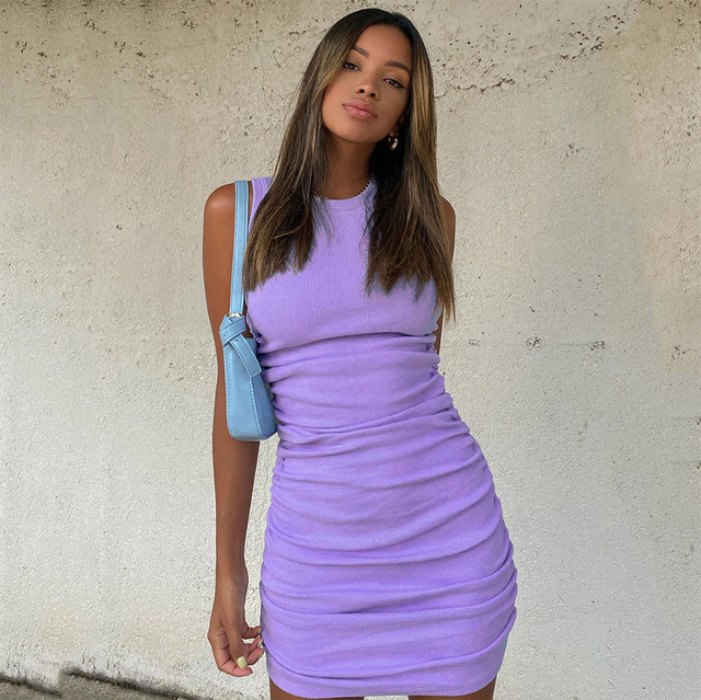 Hirigin Cotton Ruched Drawstring Sexy Dresses Women Sleeveless Elastic Mini Dress Vintage Bodycon Club Wear 2021 Casual Vestidos 6
