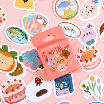 46pcs/lot Multiple Colour Patterns Kawaii Cartoon Stickers Scrapbooking Material Stick Label Decorative korean stationery