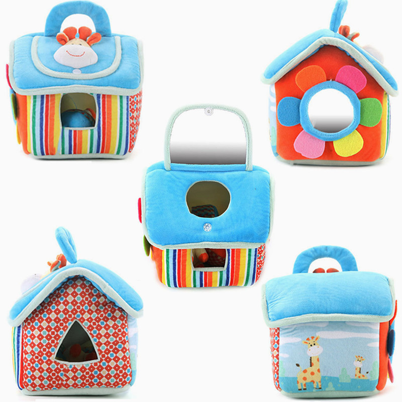 Early Education Toy House For Newborns Babies Soft Mobile Rattles Baby Kids Cartoon Animal Cube Rattle Ball Plush Blocks Toys