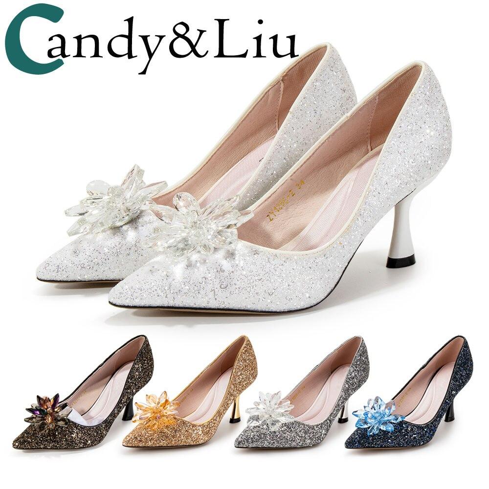 Party Shoes Middle Heels 6cm Big Glass Flowers Sequins Glittering Women's Pumps Entertainment Dance Banquet Comfortable Shoes