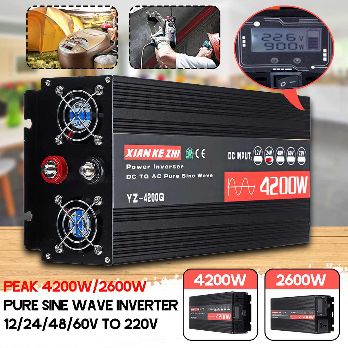 Inverter 12 V/24 V/48/60 V 220V 2600/4200W Spannung transformator Reine sinus Welle Power Inverter DC12V zu AC 220V Konverter + Led-anzeige