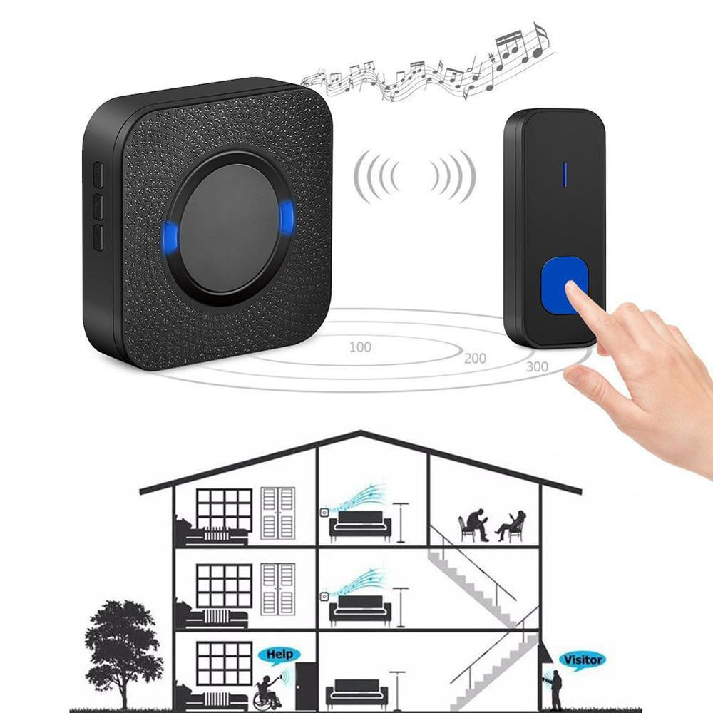 Wireless Door Bell Doorbell With 55 Chime Tones Waterproof Plug Chime Loud For Hotels Plug LED UK/EU Office Wall In A4Q5