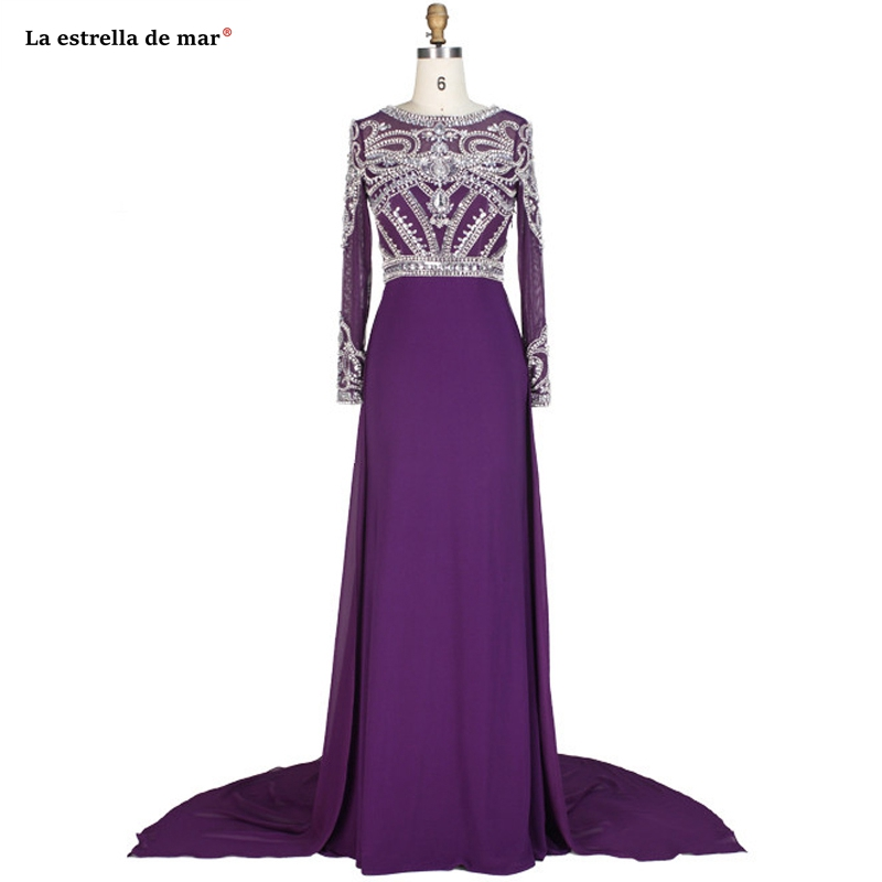 Abschlussballkleid New Lace Crystal Chiffon Long Sleeve A Line Purple Red Green Champagne Prom Dress Real Photo Vestido Formatur