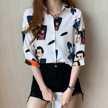 2020 Women Blouses Brand Excellent Quality Print Character White Shirt Women Cotton Casual Short Sleeve Summer Shirt Tops Lady women s tops and blouses cotton white shirt line face print retro shirts with long sleeve white blouse lady spring summer xnxee