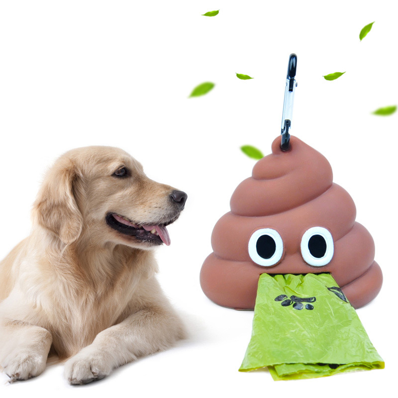 1pc Portable Soft Silicone Shit Shape Cartoon Outdoor Walking Travel Disposable Rubbish Bag Storage Box Pet Dog Cat Supply