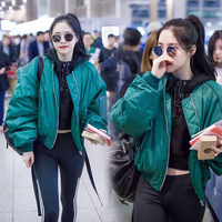 2019 Winter Sun Na Well South Korea Star Celebrity Style Green Jacket Short Coat Loose Fit Embroidered Letters Cotton Coat Black