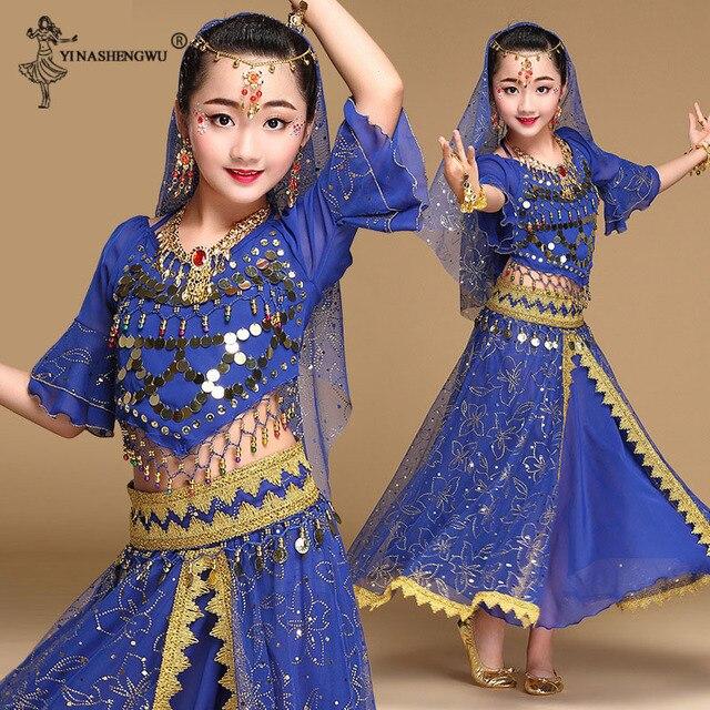 Meninas bollywood trajes de dança do ventre conjunto crianças dança do ventre dança oriental índia sari chiffon palco desempenho terno novo