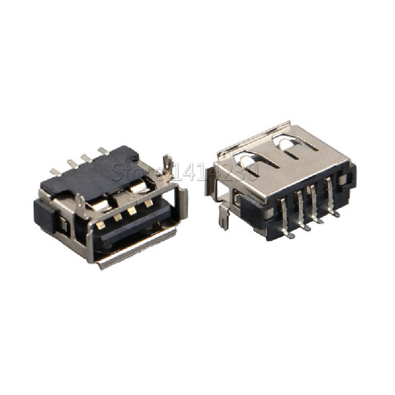 10PCS USB Connector Type A Female USB 2.0 AF10.0 4Pin 6.3mm Height Crimping SMT Black AF-08