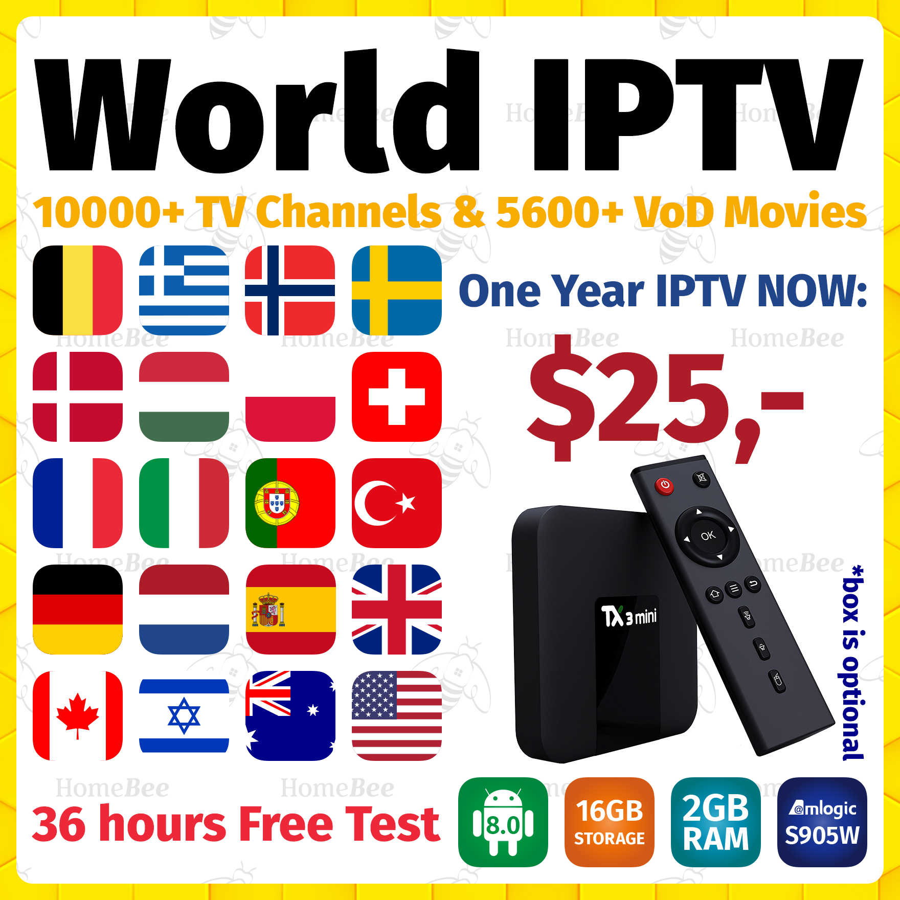 TX3 mini smart tv box android 8.1+1 Year world IPTV subscription for Nederlands Sweden Filand UK Spain IPTV M3U android tv box