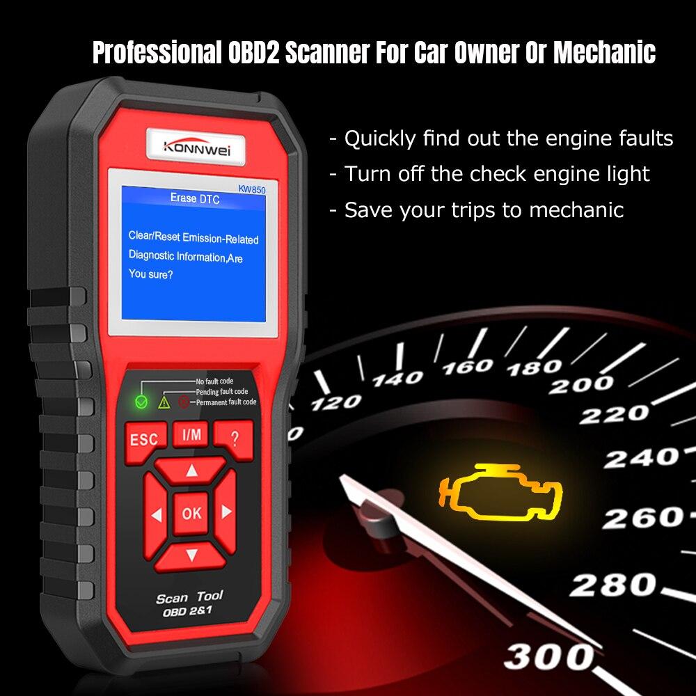 KW850 OBD2 Scanner Auto Diagnostic Scanner OBD2 Car Code Reader Scanner Erase Errors Auto Diagnostic Tool For VAG BMW Toyota