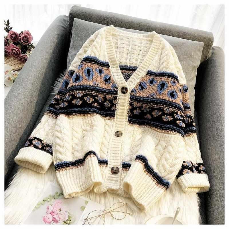 NiceMix Women Oversize luźny kardigan sweter 2019 koreański styl moda dzianiny Carigans płaszcze kobieta jesień zima ubrania Thic