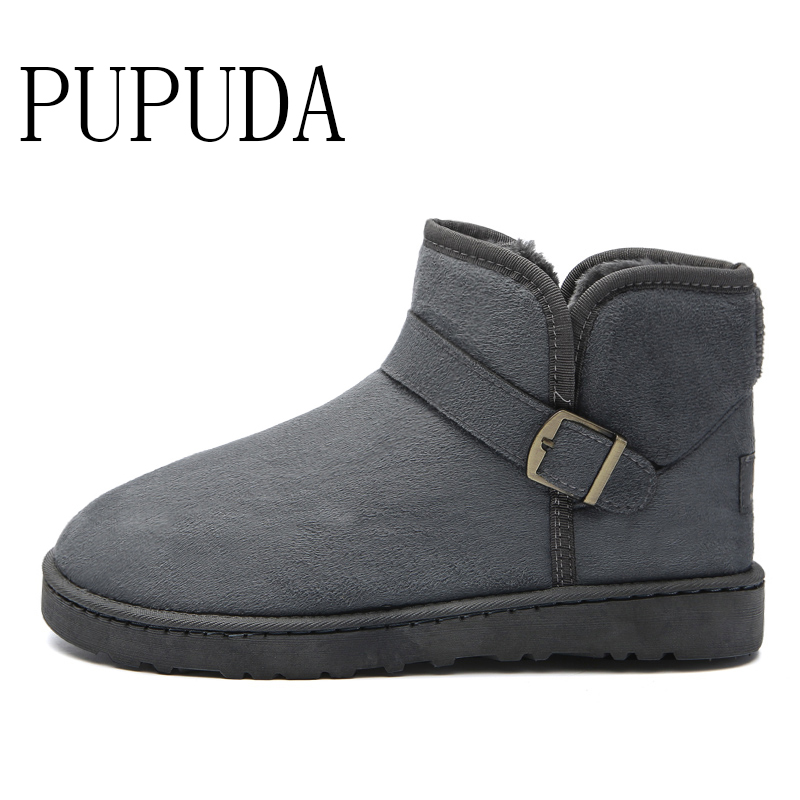 PUPUDA Winter Snow Boots Men Fashion Trend Comfortable Outdoor Classic Cotton Boots Slip-on Couple Boots Casual Shoes Big Size
