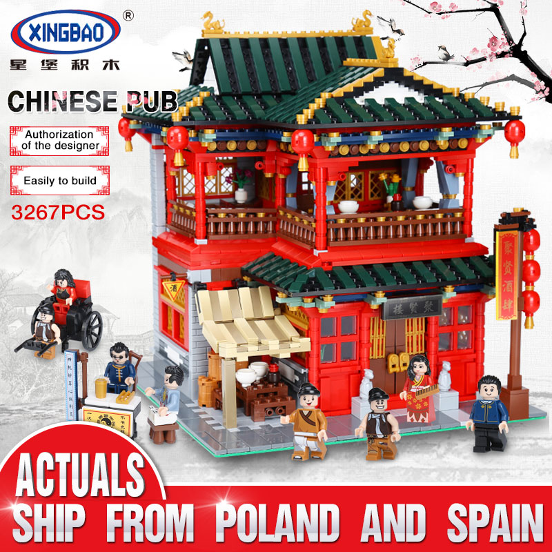 City Street Chinese Building MOC Creative Series The Lovely Tavern Set Kids Education Building Blocks Bricks