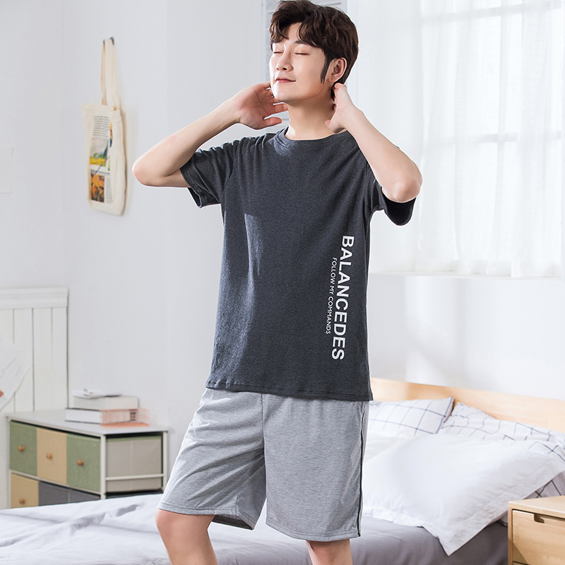 Summer Full Cotton Short Sleeved Men's Pajamas Sets Male Pajama Set Letter Pajama For Men Sleepwear Suit Homewear Plus Size 4XL