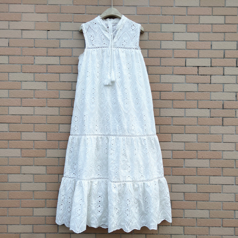 2020 fashion hollow out flowers dresses for women cotton white dress national style woman dress drop shipping YS164