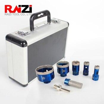 цена на Raizi Diamond Hole Drill Bits Set For Ceramic Tile Granite Marble 20/25/35/55/68 mm tile Hole Saw Cutter kit with Finger bit
