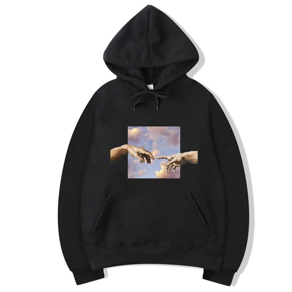 Funny Icon Michelangelo Print Casual Hoodies Men Hip Hop Unisex Warm Men's Sweatshirt Harajuku Hand Hoodie Male Streetwear