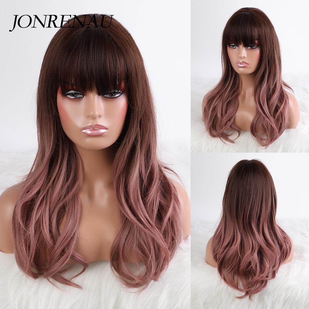 Jonrenau longa onda natural preto ombre purpal com franja uso diário cosplay fibra de alta temperatura 22 Polegada perucas de cabelo para mulher