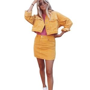 Image 5 - Lato kobiet 2 zestaw gorąca sprzedaż moda damska jednolity kolor jednorzędowy kurtka dżinsowa + kieszeń krótka spódnica dwuczęściowy garnitur