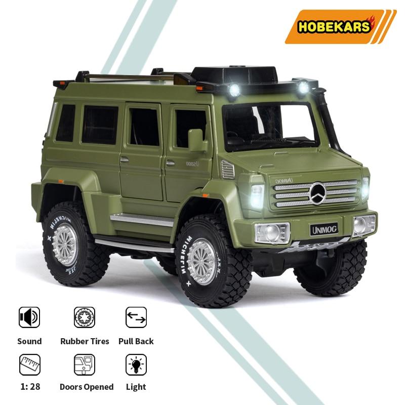 Hobekars 1:28 diecast modelo de carro metal liga brinquedos veículo unimog u5000 simulação suv coleção carro brinquedos para presentes decoração