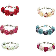ower head flower hair band wreath headpiece crown female jewelry headdress wedding party ball participant(China)