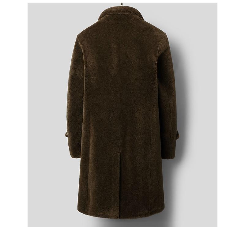 2020 New Sheep Shearing Real Fur Coat Men Long Autumn Winter Jacket Men Wool Blazer Slim Luxury Coat Men C31A58-22