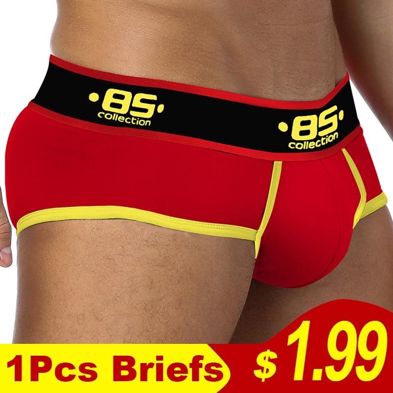 2020 New BS Brand Sexy Mens Underwear Briefs Cuecas Sexy Patchwork Gay Underwear Calzoncillos Cotton Slips Male Panties 19 Color