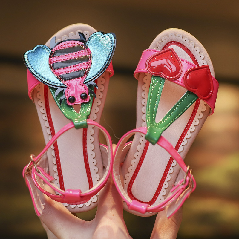 ULKNN 2020 Summer Girls Sandals Flowers With Heart Sharp And Bees Beach Shoes For Baby To Big Kids