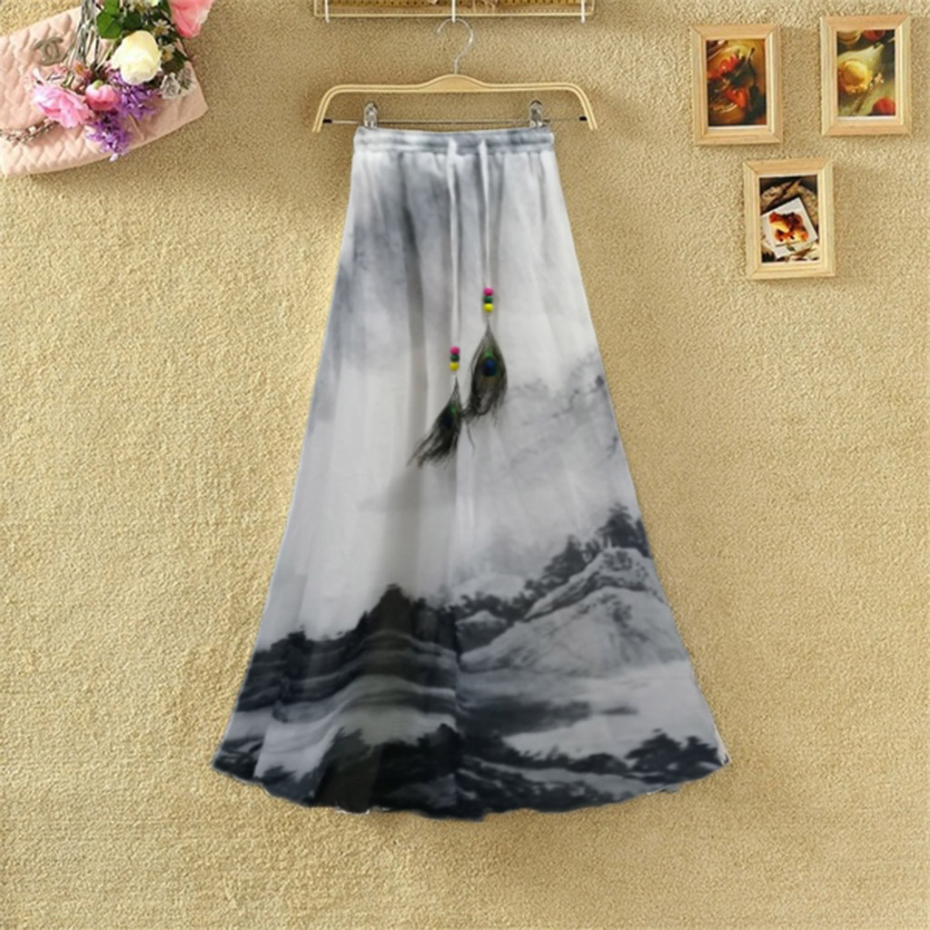 Women Fashion Summer Casual Sexy Print Elastic Waistband Fashion Daily Skirt Skirts Womens Faldas Mid-length skirt Spodnica