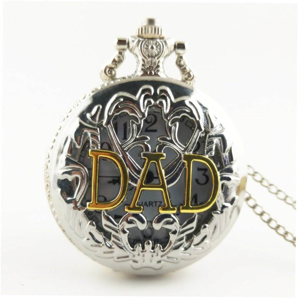 Hollow Out DAD Vintage Antique Round Dial Quartz Pocket Watch Necklace Pendant Clock For Mens Womens Best Gifts