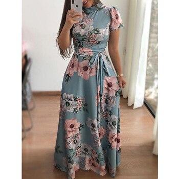 Plus Size Spring Autumn Womne's Dress Bohomia Flower Print Maixi Dresses Fashion Belt Tunic Boho Eveing Party Midi Dress Vestido 4