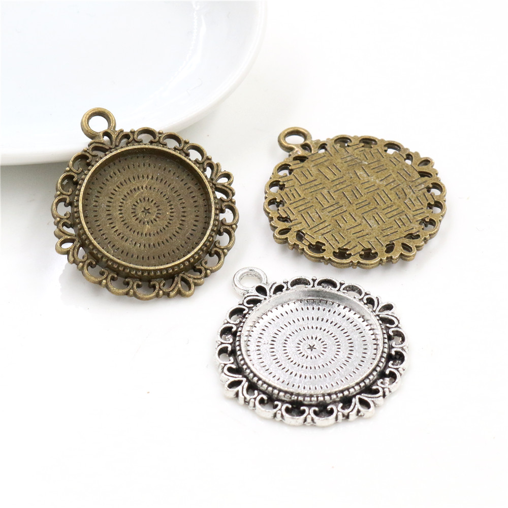 10pcs 20mm Inner Size Antique Silver Plated And Bronze Colors Pattern Style Cabochon Base Setting Charms Pendant