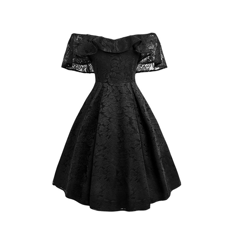 Women Vintage Lace Red Dress Sexy One Shoulder Ruffle Mini Dress Chic Retro Party Ball Gown Gothic Black  50S Dresses